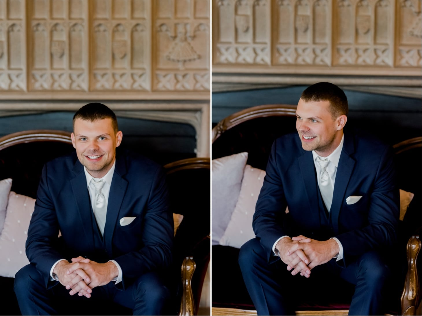 groom portrait at rollins mansion des moines
