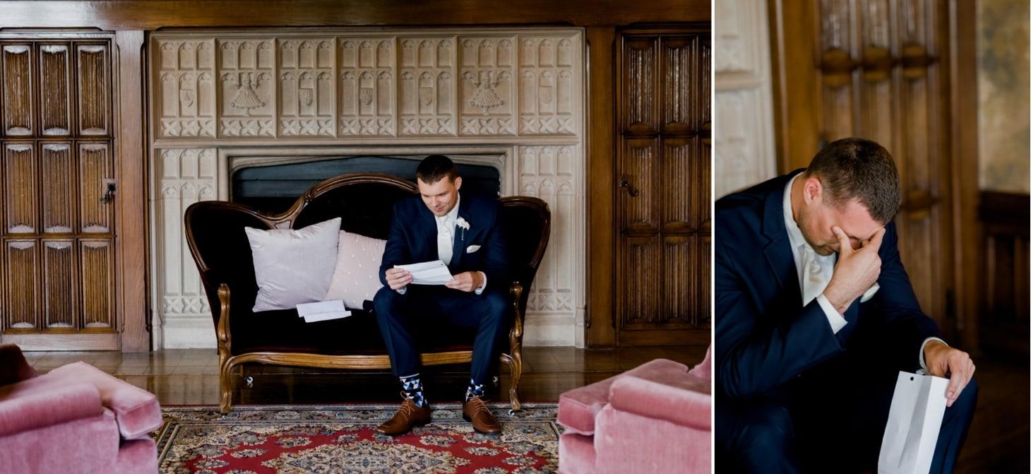 groom reading letter at rollins mansion