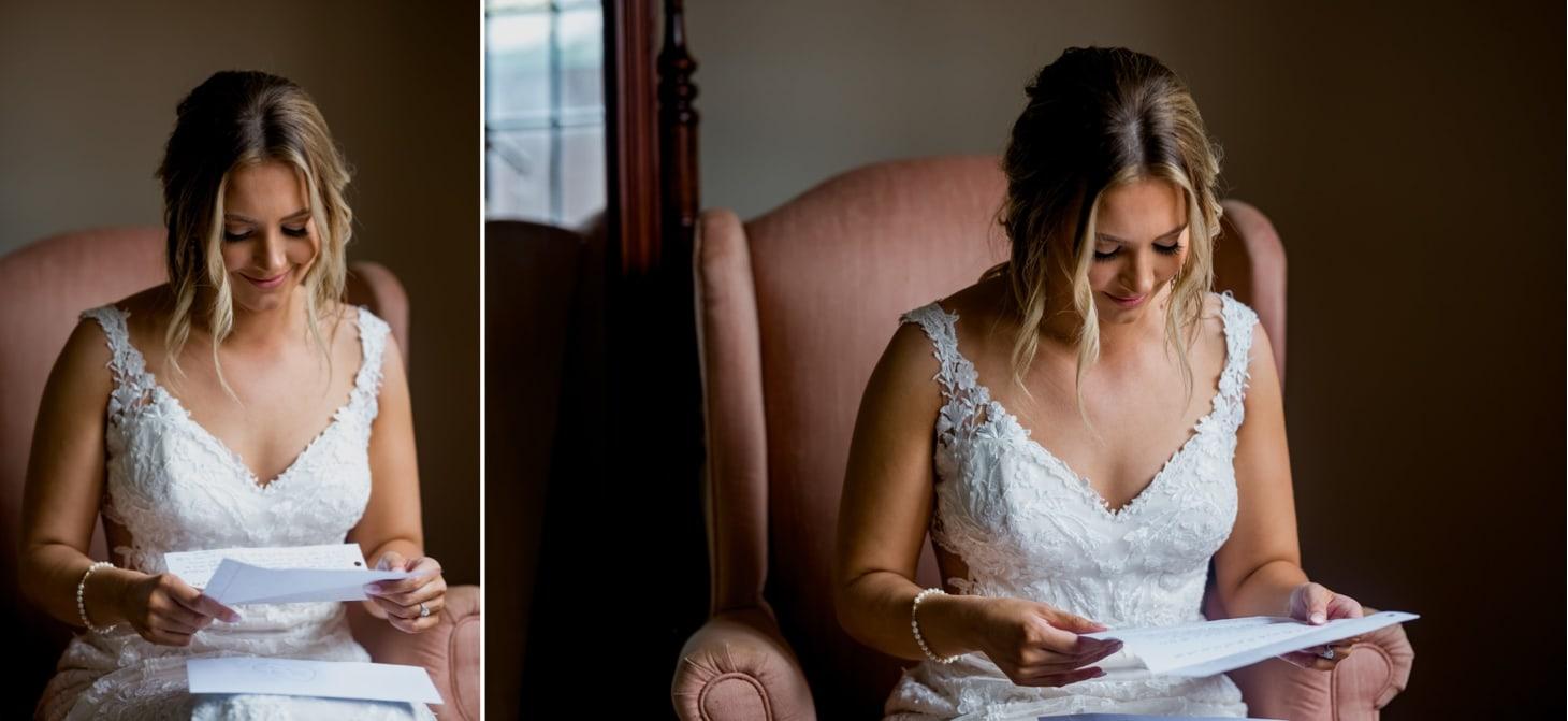 bride reading letter rollins mansion wedding
