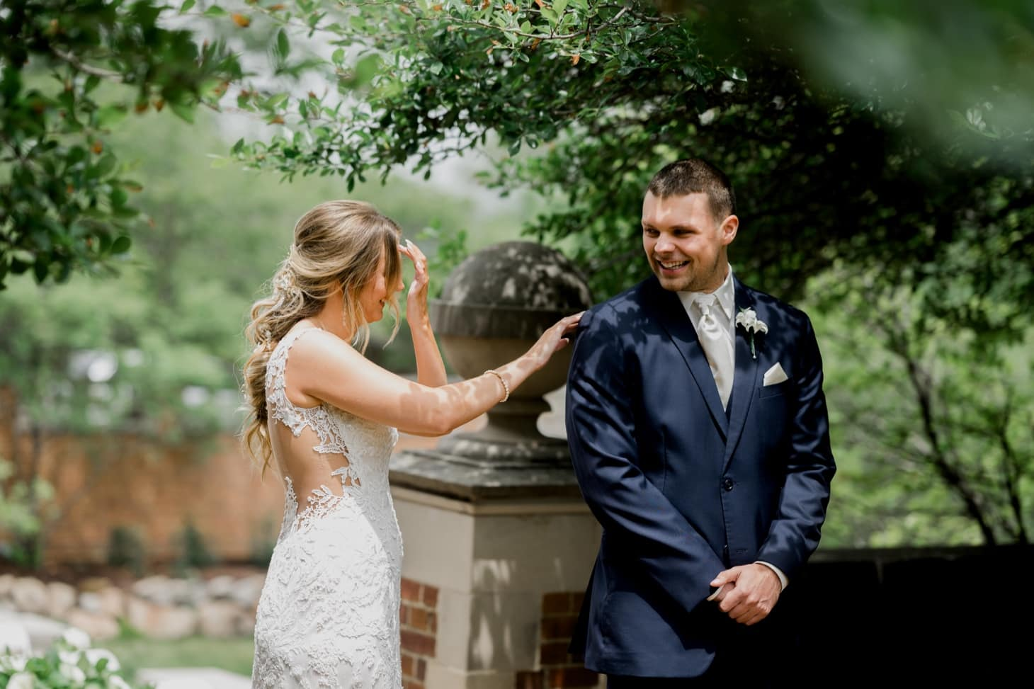 first look moment at rollins mansion wedding