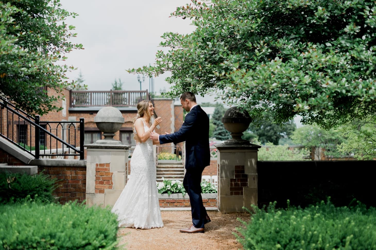 bride and groom first look rollins mansion