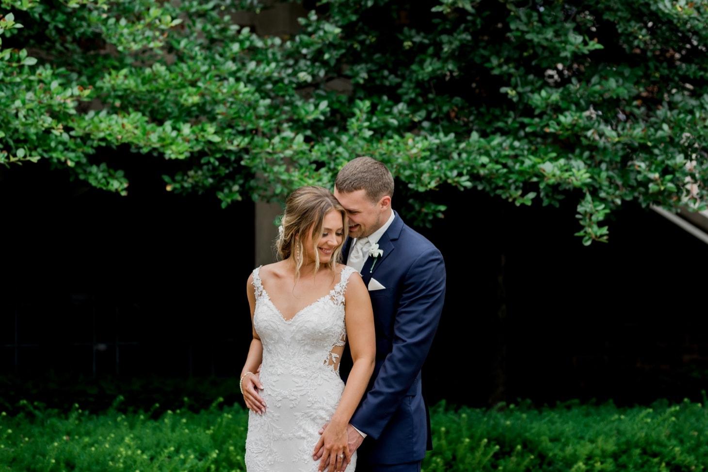 bride and groom portrait rollins mansion wedding iowa