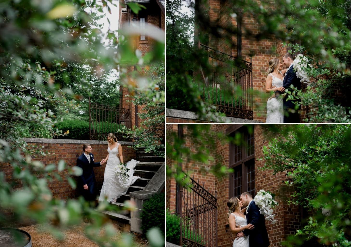 bride and groom garden photo at rollins mansion
