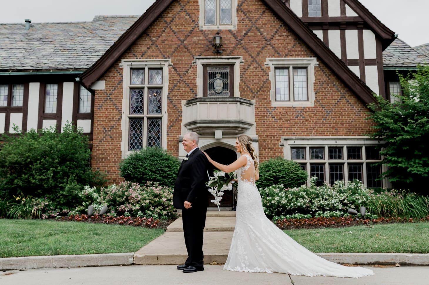 bride and father first look rollins mansion