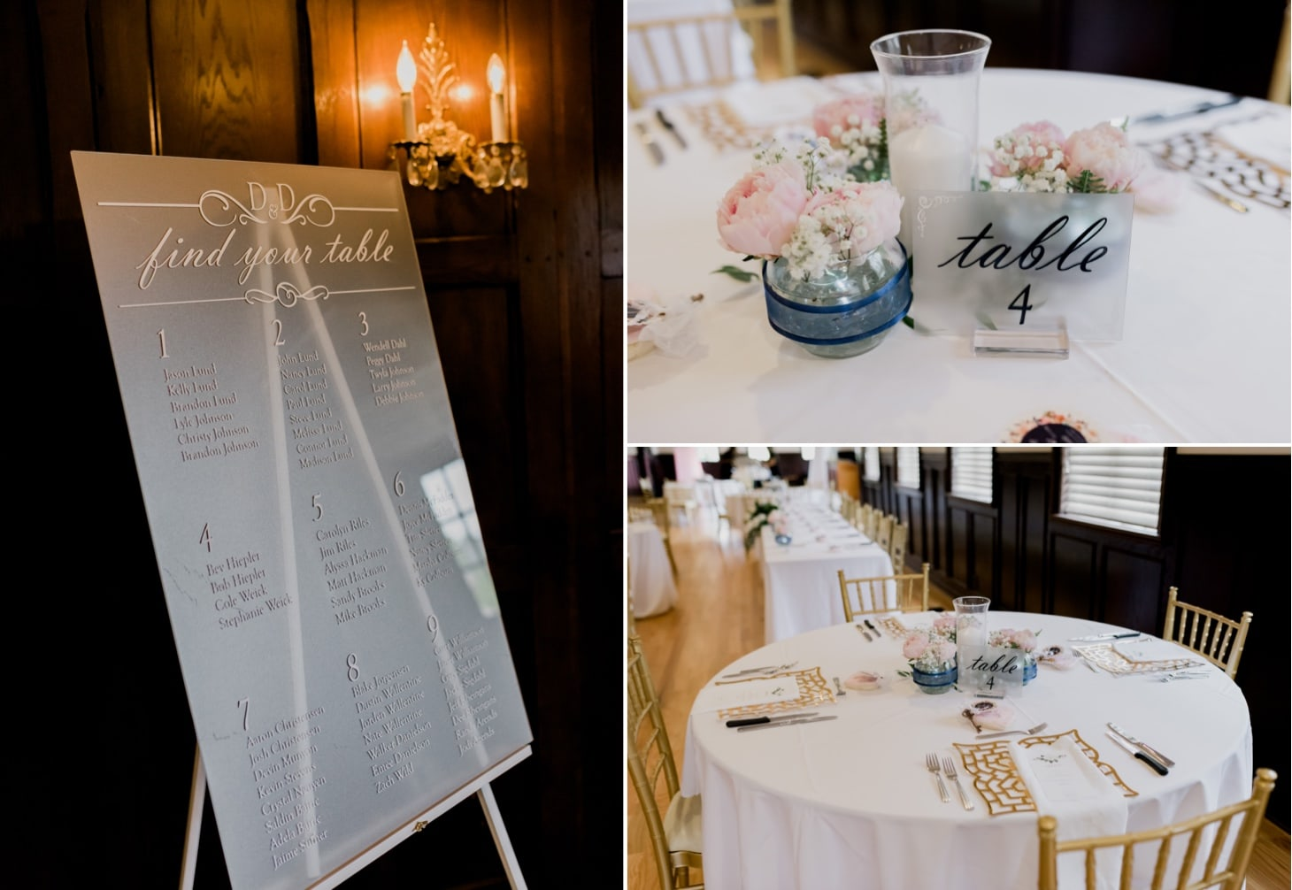 reception details at rollins mansion wedding