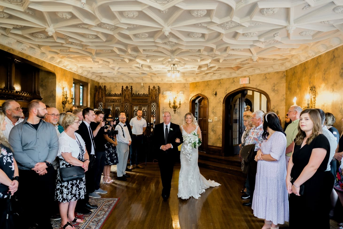 bride walking down the aisle at rollins mansion wedding