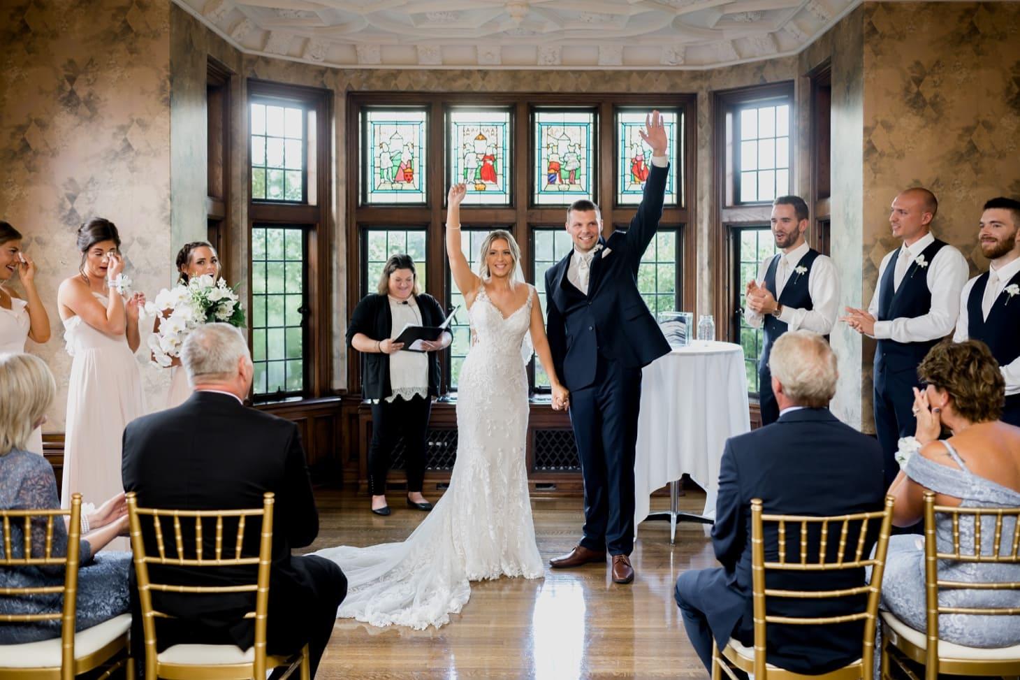 bride and groom wedding exit rollins mansion wedding